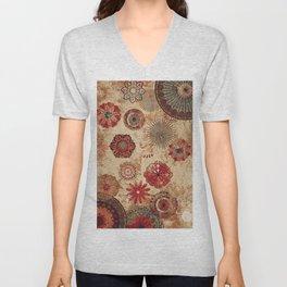 Bohemian Floral Moroccan Style Design Unisex V-Neck