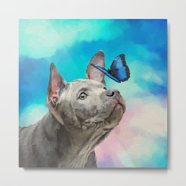 Blue Thai Ridgeback Puppy with Butterfly Metal Print