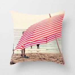 Summer Beach Umbrella Throw Pillow