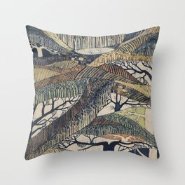 Marching Trees Batik, 1970's Nature Painting in Natural Tones Throw Pillow