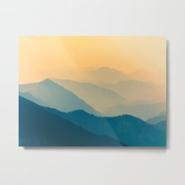 Minimalist Photography Silhouette Mountains Blue Yellow Misty Landscape Metal Print