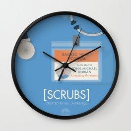 Scrubs, tv series poster, alternative television print, John Dorian, Turk, Elliot, Carla, Bob Kelso, Bill Lawrence Wall Clock