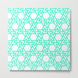 Neon Teal Chains Metal Print