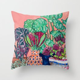 Cluster of Houseplants and Proteas on Pink Still Life Painting Throw Pillow