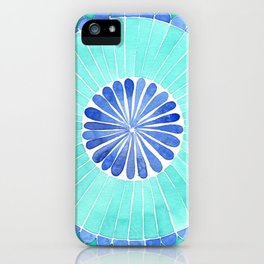 mosaic blue and green palette watercolor iPhone Case