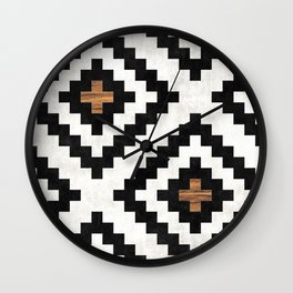 Urban Tribal Pattern No.16 - Aztec - Concrete and Wood Wall Clock