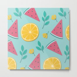 Colorful Summer Fruits Pattern Metal Print