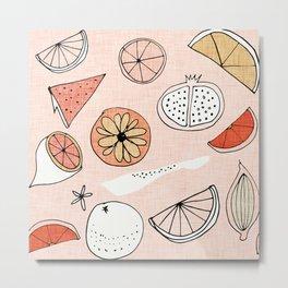 Mod Fruit Salmon Metal Print
