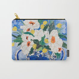 Queen of California - Giant Matilija Poppy Bouquet in Lion Vase on Blue Carry-All Pouch