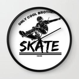 Brother skater skating Wall Clock