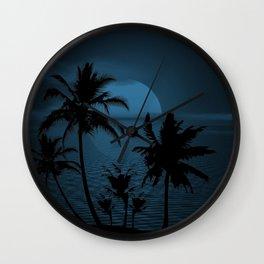 Twilight Moon on Exotic Tropical Island Wall Clock