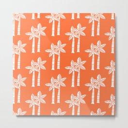 Palm Tree Pattern Orange 3 Metal Print