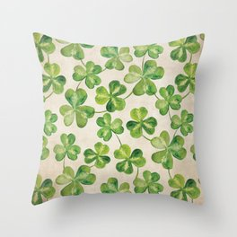 Watercolor Shamrock Pattern on White Throw Pillow