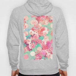 Romantic Pink Retro Floral Pattern Teal Polka Dots Hoody