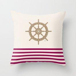 AFE Gold Nautical Helm Wheel Throw Pillow