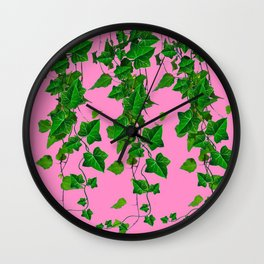 GREEN IVY HANGING LEAVES & VINES ON PINK Wall Clock