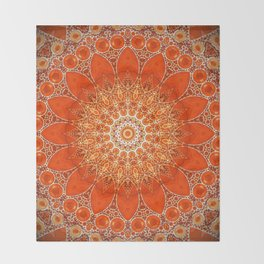 Detailed Orange Boho Mandala Throw Blanket