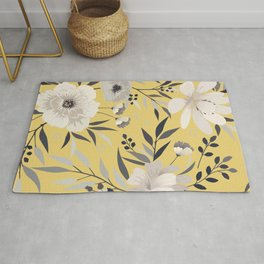 Modern, Floral Prints, Yellow and Gray, Art for Walls Rug
