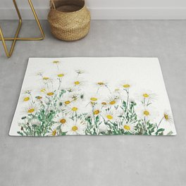 white margaret daisy horizontal watercolor painting Rug