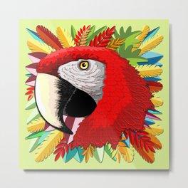 Macaw Parrot Paper Craft Digital Art Metal Print