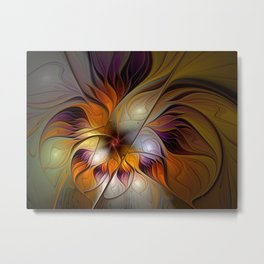 Autumn Flower, Colorful Abstract Fractal Art Metal Print