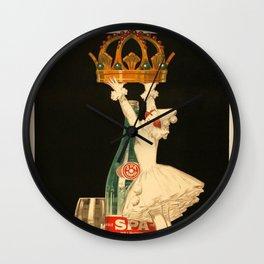 Vintage Spa Monople Source Reine Beverage Advertising Poster Wall Clock