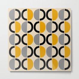 Mid Century Modern Half Circle Pattern 547 Beige Black Gray and Yellow Metal Print