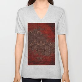 Heritage Red & Golden Traditional Moroccan Style Unisex V-Neck
