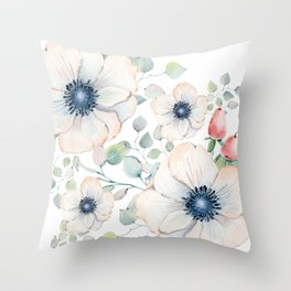 Summer Flowers White #society6 #buyart Throw Pillow