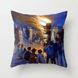 Peder Severin Kroyer Bonfire on Skagen Beach Throw Pillow