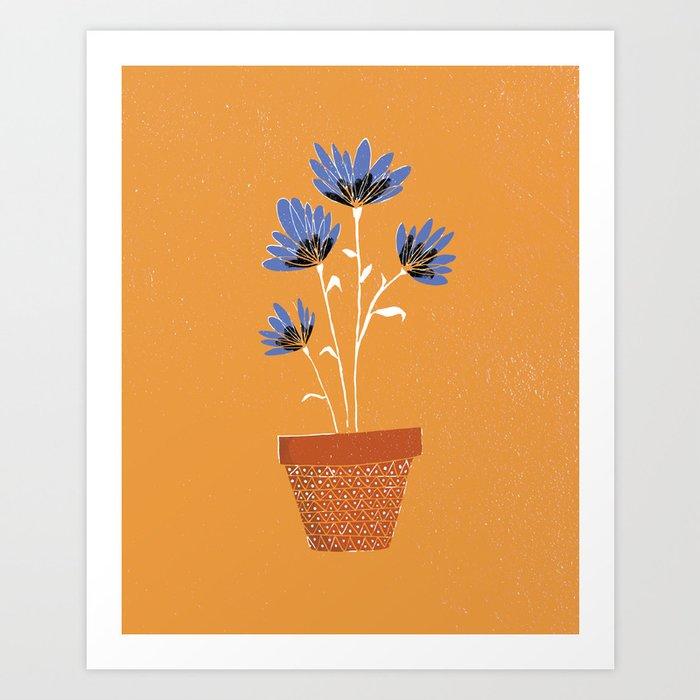 blue flowers on orange background Kunstdrucke