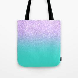 Modern mermaid lavender glitter turquoise ombre pattern Tote Bag