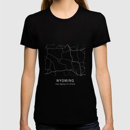 Wyoming State Road Map T-shirt