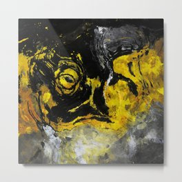 Yellow and Black Abstract Painting Metal Print