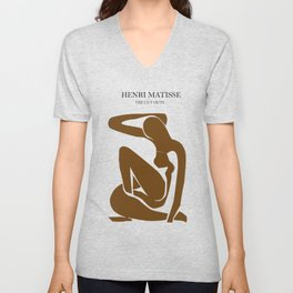 Matisse abstract nude woman print, abstract woman print, matisse wall art, Abstract Modern Print Unisex V-Neck