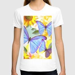 Bright Blue Butterflies Yellow Flowers #decor #society6 #buyart T-shirt