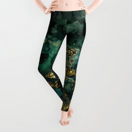 Gold Indigo Malachite Marble Leggings