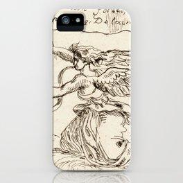 "Eugène Delacroix ""Angel Kneeling on Clouds"" iPhone Case"