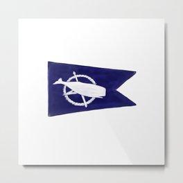 Nantucket Blue and White Sperm Whale Burgee Flag Hand-Painted Metal Print