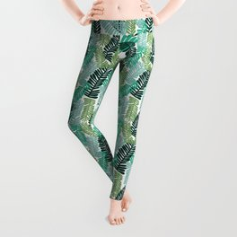 tropical plant house plant palm leaves plant watercolor painting abstract nature pattern leaf summer Leggings