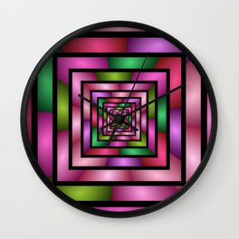 Colorful Tunnel 1 Digital Art Graphic Wall Clock