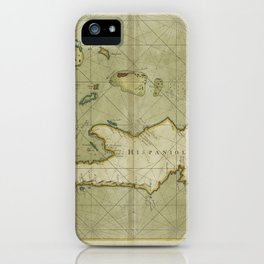 A chart of the Iland of HISPANIOLA with the windward passage from Jamaica betwene ye East end of Cuba and the west end of Hispaniola iPhone Case