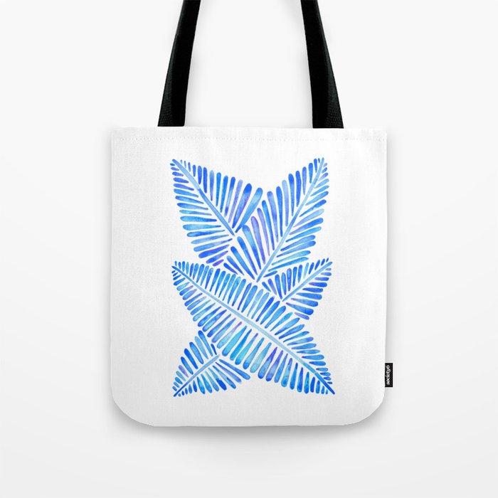 Tropical Banana Leaves – Blue Palette Tote Bag