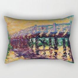 'Bridge by the Sea' coastal landscape painting by Emil Nolde Rectangular Pillow