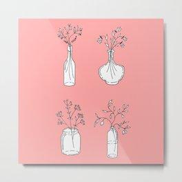 Fruit Tree Branches & Wildflowers in Vases Metal Print