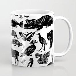 Linocut animals nature inspired printmaking black and white pattern nursery kids decor Coffee Mug