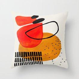 Mid Century Modern Abstract Colorful Art Yellow Ball Orange Shapes Orbit Black Pattern Throw Pillow
