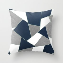 Navy Blue Gray White Mint Geometric Glam #1 #geo #decor #art #society6 Throw Pillow