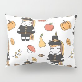 cartoon thanksgiving pattern with pilgrim unicorns, pumpkins, apples, pears, leaves and acorns Pillow Sham