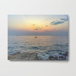 Seacoast of the peninsula of Rovinji at sunset Metal Print